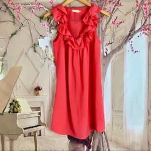 Anthropologie Pins & Needles Orange Ruffle Dress